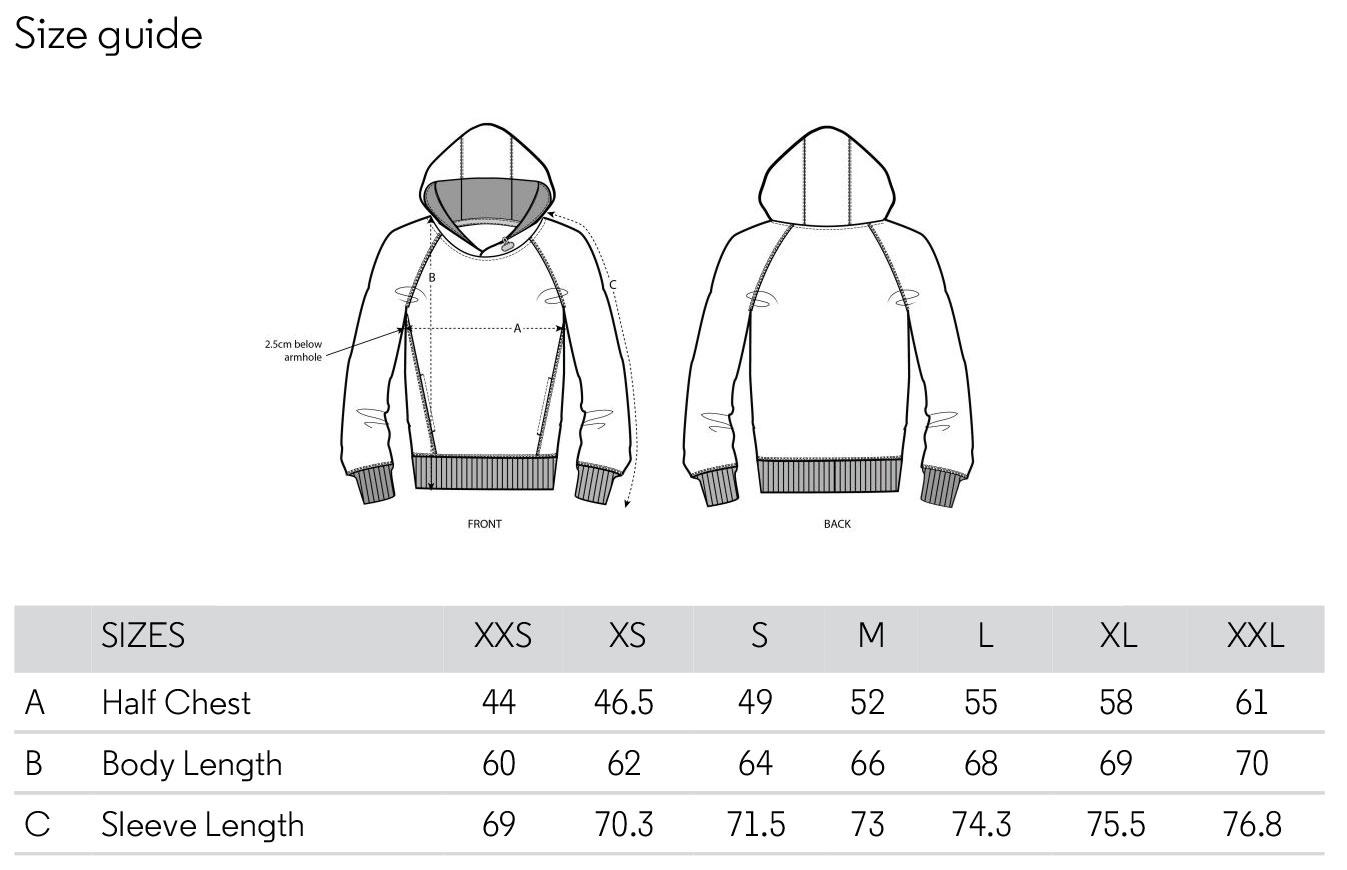 Size chart hoodie woman
