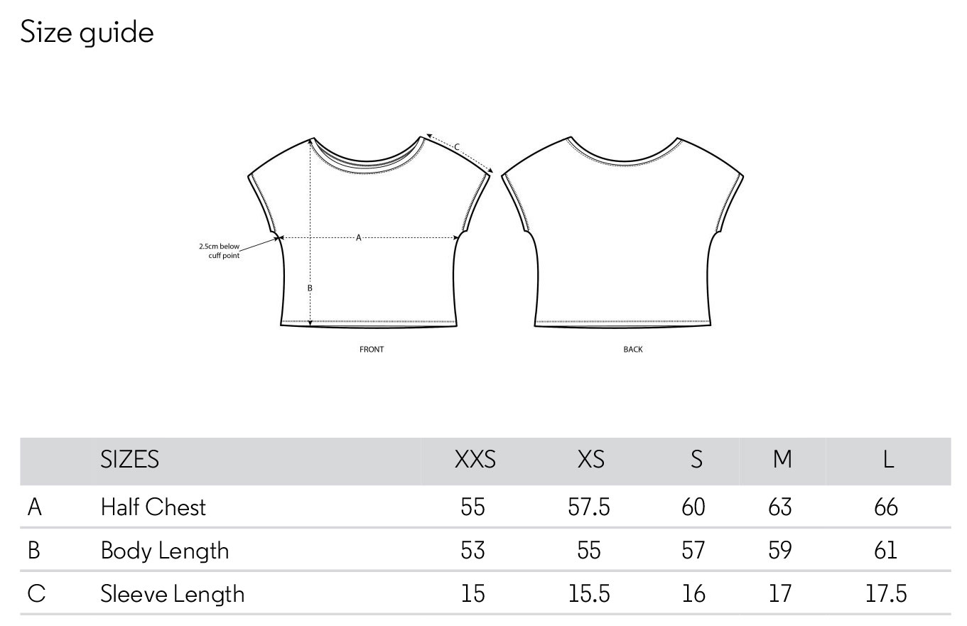 Size chart loose fit woman tshirt