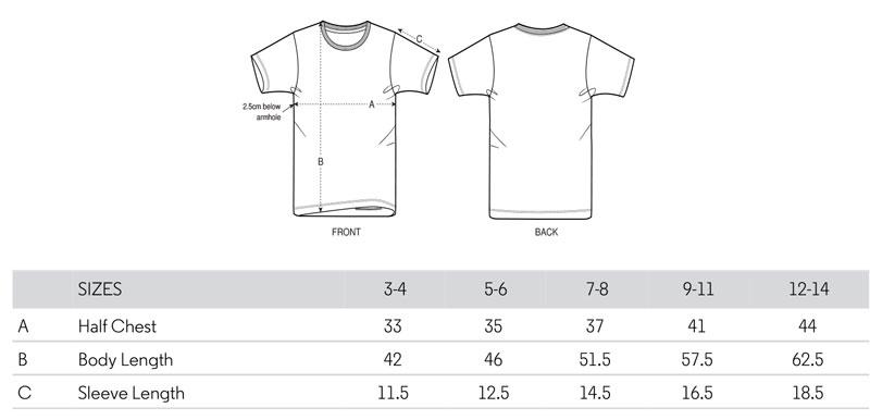 Size chart tshirt kid