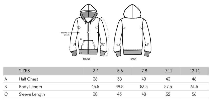 Danga organic cotton kid zipper hoodie size spec
